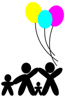 Stick Family holding Balloons